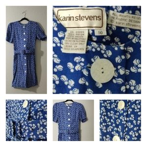 Vintage Karin Stevens Womens Floral Dress Size 10